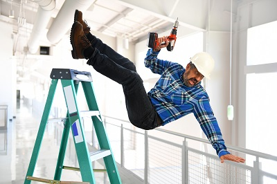 image of employee falling off ladder